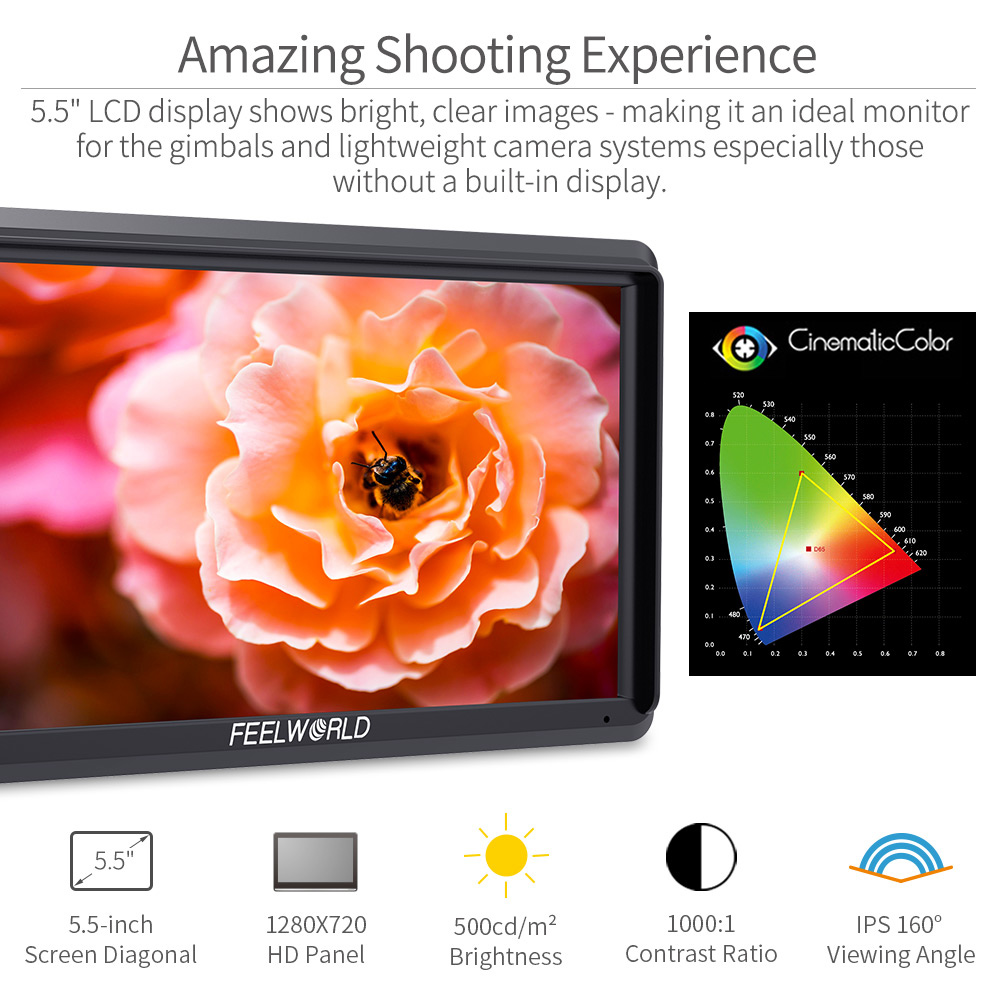 FEELWORLD S55 5.5 inch DSLR Camera Monitor 4K HDMI LCD IPS HD 1280×720 Display Field Monitor 8.4V DC Output for Nikon Sony Canon