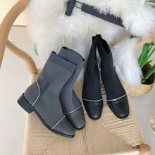 Shoes Women Boots Winter Chunky Heel Lace Up Luxury Designer Low Heels booties Booties Ladies Bootee Woman 2019 Rubber Fashion(China)