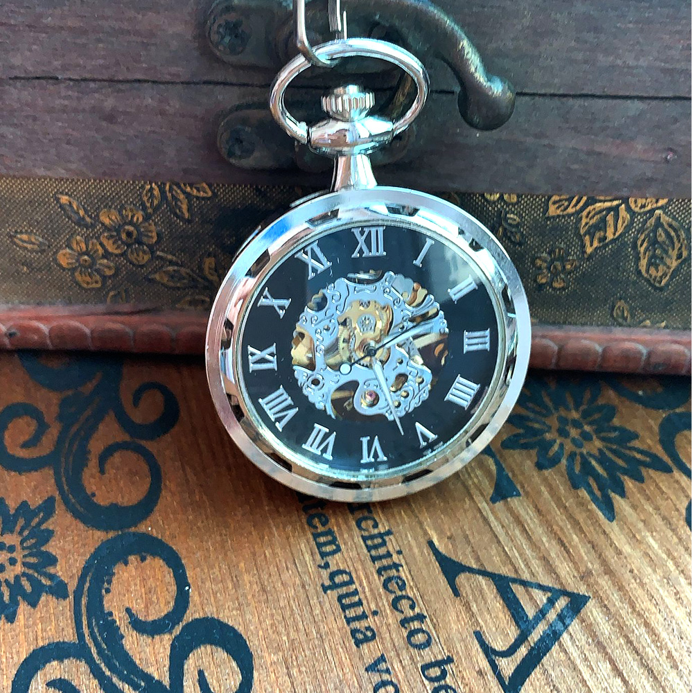 8938    Vintage Silver Wheel Roman Scale Large Pocket Watch Court Creative Gift Value Exquisite Flip Pocket Watch