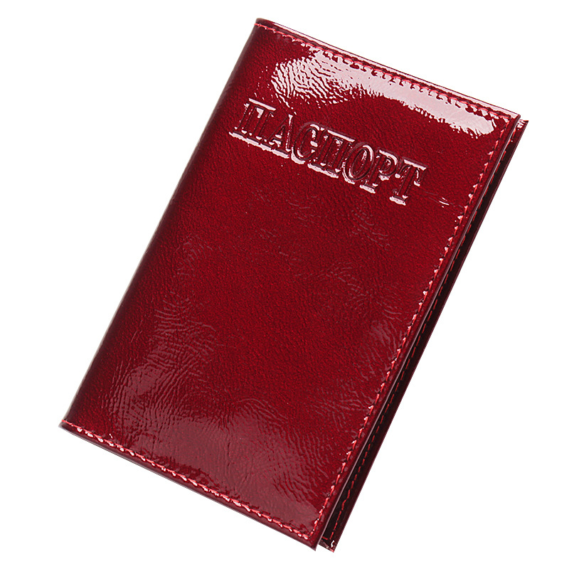 Mirror Genuine Leather <font><b>Passport</b></font> Cover for Men Women Travel <font><b>Passport</b></font> Case Russia Travel Document Cover SIM <font><b>Passport</b></font> Holders image