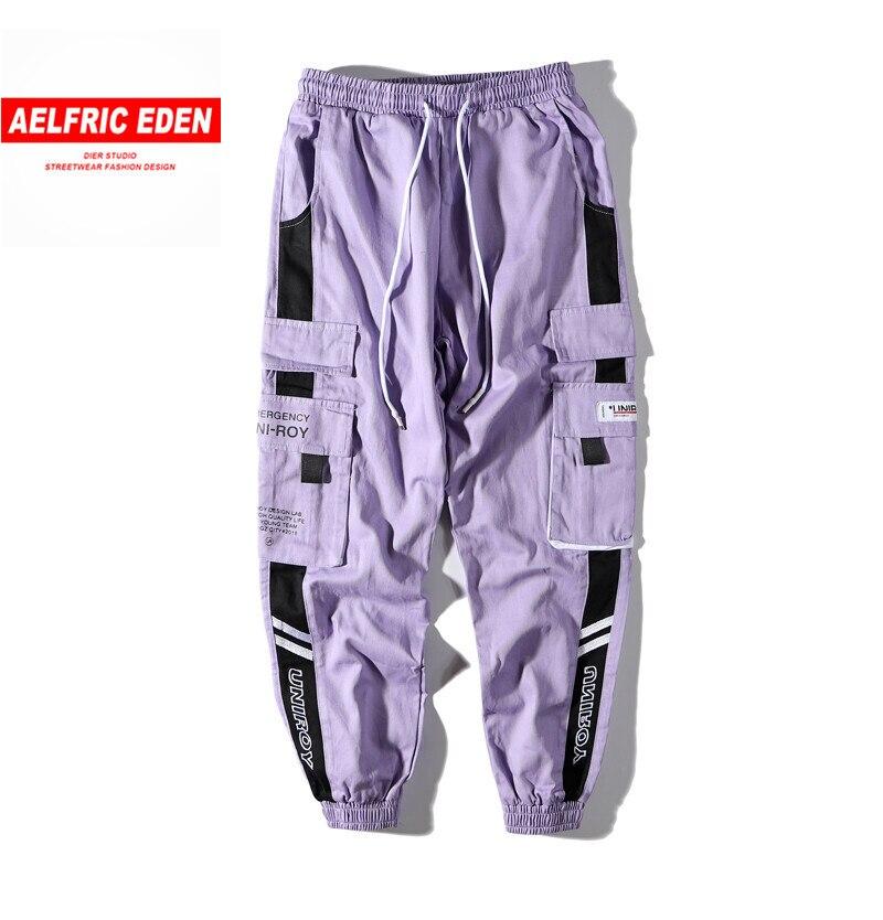 Aelfric Eden Hip Hop Cargo Pants Men Streetwear Men Casual Elastic Waist Joggers Trousers 2020 Colorblock Harajuku Harem Pants