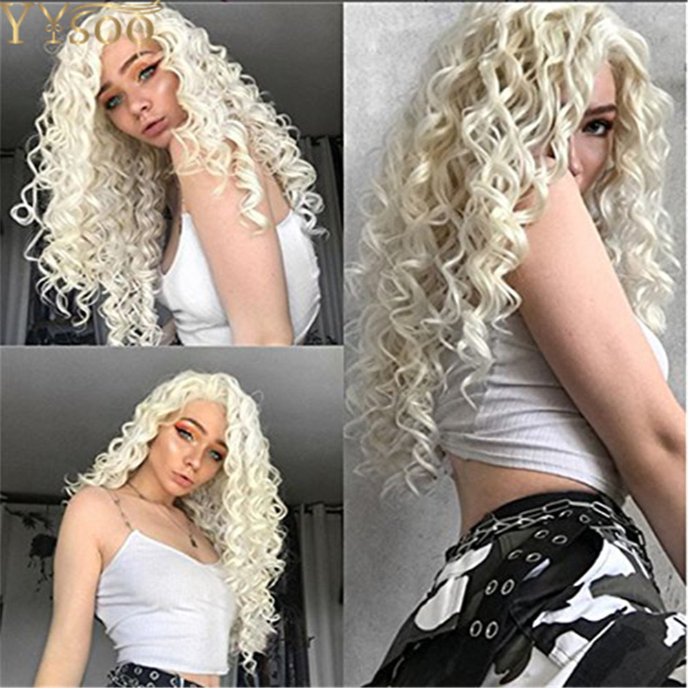 YYsoo Long Curly Light Blonde Synthetic Lace Front Wigs Body Wave Platinum Blonde Wig with Free Part For White Women Daily Use