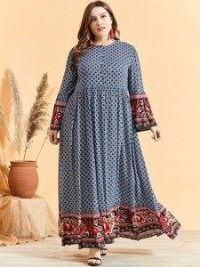 Image 2 - נשים אתני הדפסת אבוקה שרוול מוסלמי שמלה גבוהה מותן כפתור גדול Hem הרמדאן ערבית שמלת Vestidos בתוספת גודל M   3XL 4XL