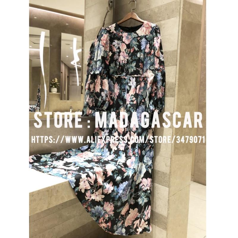 Linen Floral Print Puff Sleeve Long Dress 2019 Women's Autumn Quality Bohemian Long Sleeve Elegant Dress Maxi dress