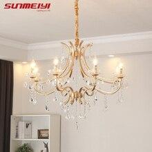 Nordic LED Crystal Chandeliers Vintage Gold Chandelier Hanging Lamp For Living room Bedroom Study Modern Kitchen Dining room цена 2017