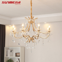 Nordic LED Crystal Chandeliers Vintage Gold Chandelier Hanging Lamp For Living room Bedroom Study Modern Kitchen Dining room