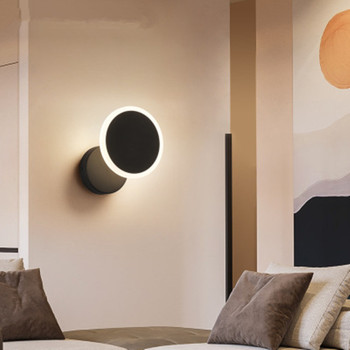 Rotating LED Wall Light Acrylic Bedroom Bedside Light Nordic Simple Living Room Study Hotel Aisle Light