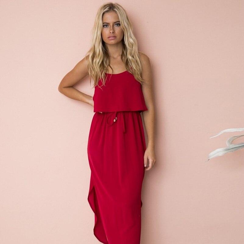 Red Dresses Sleeveless Strap Cotton Mid Calf Loose Boho 2019 Flowers Empire Fashion Spaghetti O Neck Summer Dresses New Dress