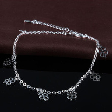 Sell Like Hot Cakes Fashion 925 Silver Clover Anklet Simple Temperament Double Anklet, Suitable for Ladies Gift JL013