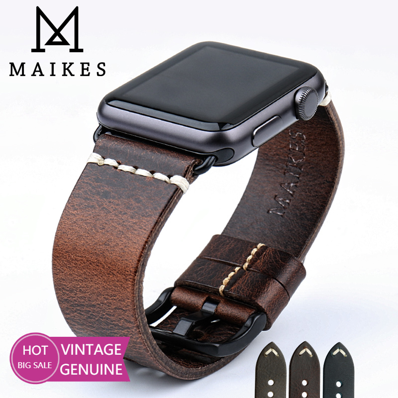 MAIKES Leather Strap Belt For Apple Watch Band 44mm 40mm 42mm 38mm Series 6 5 4 3 2 1 iWatch Vintage Oil Wax Leather Watchband