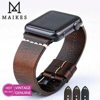 MAIKES-Correa de cuero para Apple Watch, banda de 44mm, 40mm, 42mm, 38mm, Series 6, 5, 4, 3, 2, 1, iWatch, Vintage, con cera de aceite