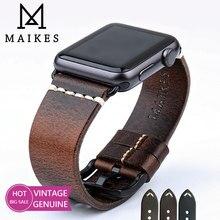 Maikes correia de couro para apple relógio banda 44mm 40mm 42mm 38mm série 6 5 4 3 2 1 iwatch vintage cera óleo couro pulseira