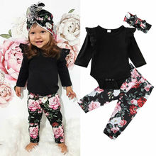 Outfit Toddler Baby-Girl 0-24-Months Pants Romper Sleevet Fashion 3pcs Long Set Pullover