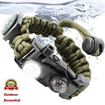Survival Gear Kit with Waterproof SOS LED Light Emergency Knife Whistle Compass Outdoor multi tools Camping Hiking Wristband