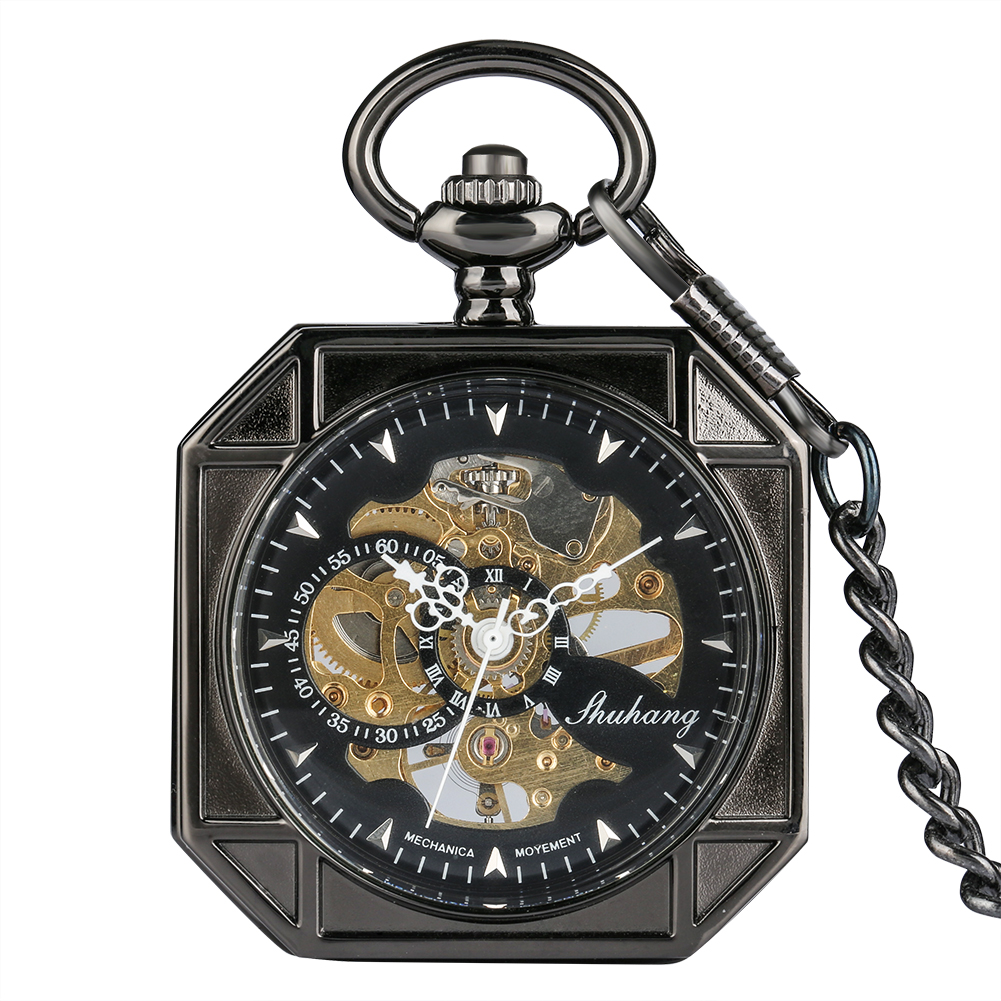 Exquisite Octagon Black Case Mechanical Pocket Watch Practical Roman Numerals Dial Pocket Watches Rough Chain Pendant Clock