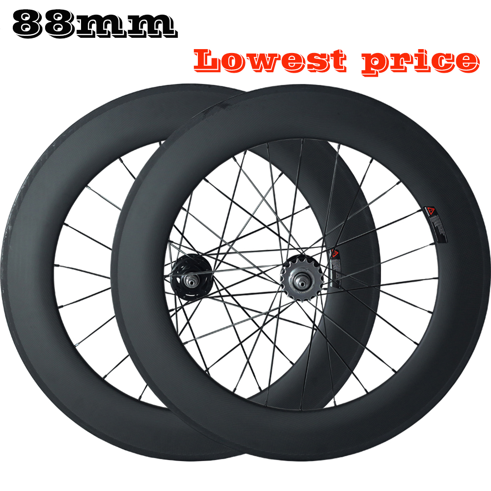 OZUZ Track Wheelset 88mm deep Carbon Fiber Wheels 17T Cogs Clincher Tubular Tlip Flop Fixed Gear 700C Road Bike Bicycle wheelset