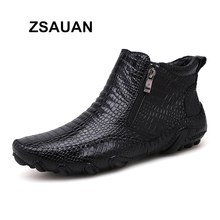 ZSAUAN Brand Drop Shipping Mens Boots Crocodile Pattern Casual Men Leather Ankle Soft Waterproof Winter Warm Zip