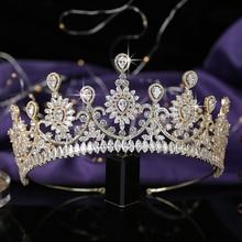 تاج HADIYANA العصرية زهرة تصميم المرأة الزفاف الزفاف إكسسوارات الشعر حفلة مجوهرات الشعر مكعب الزركون BC5576 كورونا برينسيسا