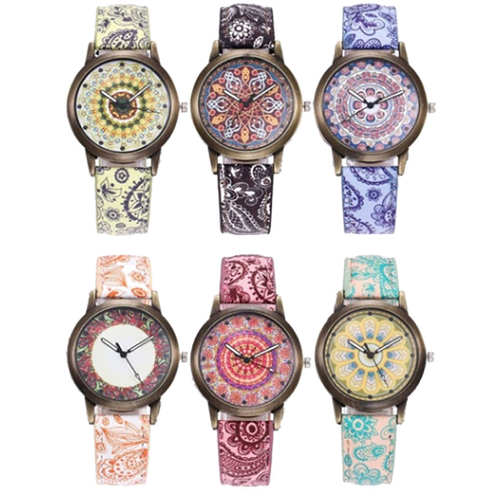 โบฮีเมียผู้หญิงดอกไม้สีสันรูปแบบรอบFauxหนังนาฬิกาข้อมือควอตซ์นาฬิกาสุภาพสตรีชุดของขวัญหรูหรา
