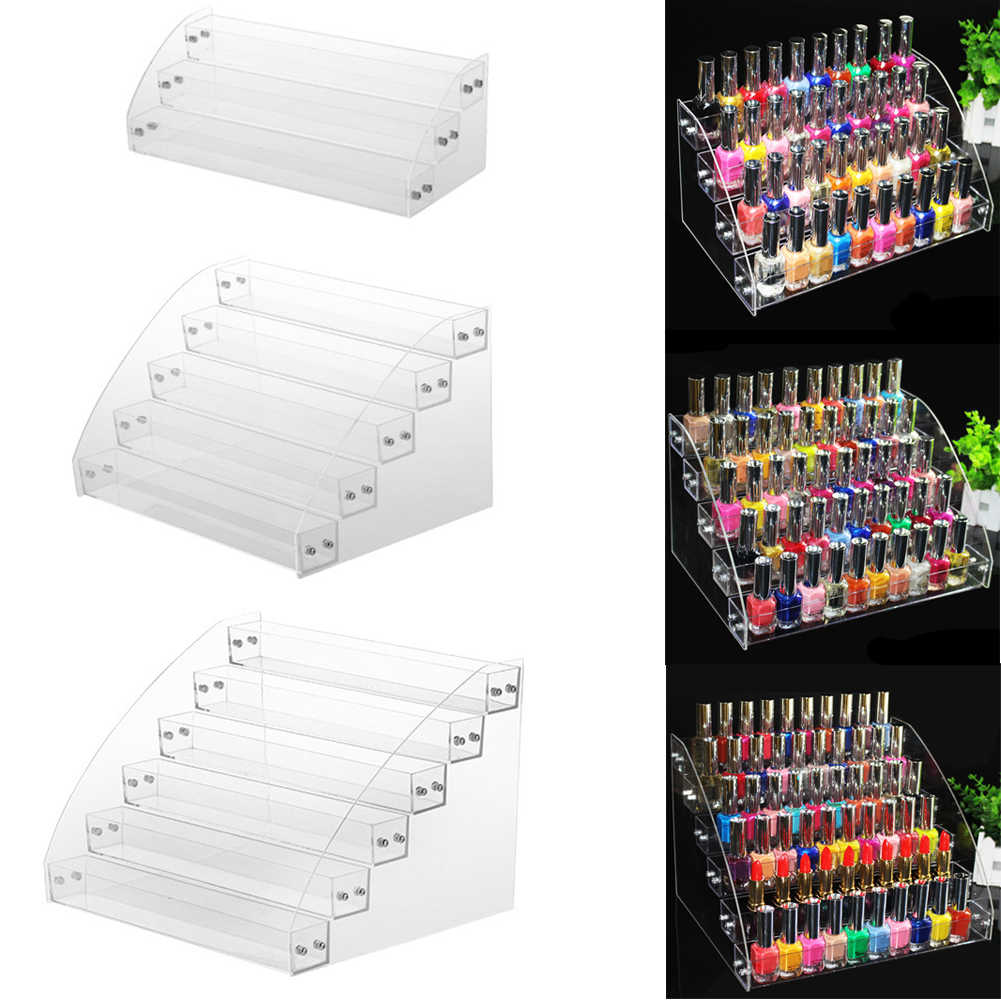 HOT SALE !! Multi-layer Transparent Acrylic Nail Polish Rack Varnish Display Stand Holder
