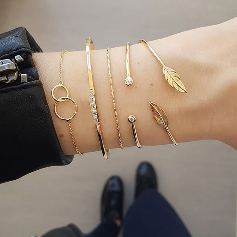 5Pcs/set Bohemian Gold color Moon Leaf Crystal Opal Open Bracelet Set for Women Punk Boho Beach Bangle Jewelry Gift 16
