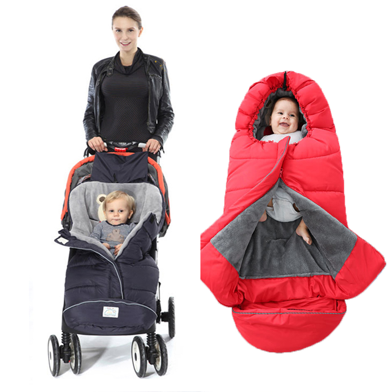 Baby Stroller Sleeping Bags Winter  Thick Warm Envelope For Newborn Infant Windproof Cocoon Stroller Sleepsacks Footmuff Foo