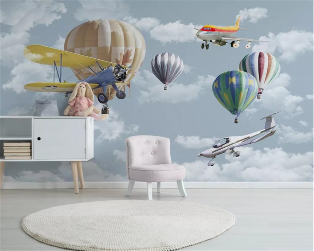 Beibehang Custom Wallpaper Mural Hand Painted Sky Plane Hot Air Balloon Children Room TV Background Wall Wall Paper Home Decor