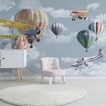 Papel pintado personalizado Beibehang, mural pintado a mano, globo de aire caliente, Fondo de TV para habitación de niños, papel de pared, decoración del hogar