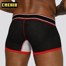 Seksi Örgü Marka Erkek Iç Çamaşırı Moda Kayma Boksör Erkek Iç Çamaşırı Elastik Bel Nefes Hızlı Kuru Boksör Bikini Boxershorts OR201