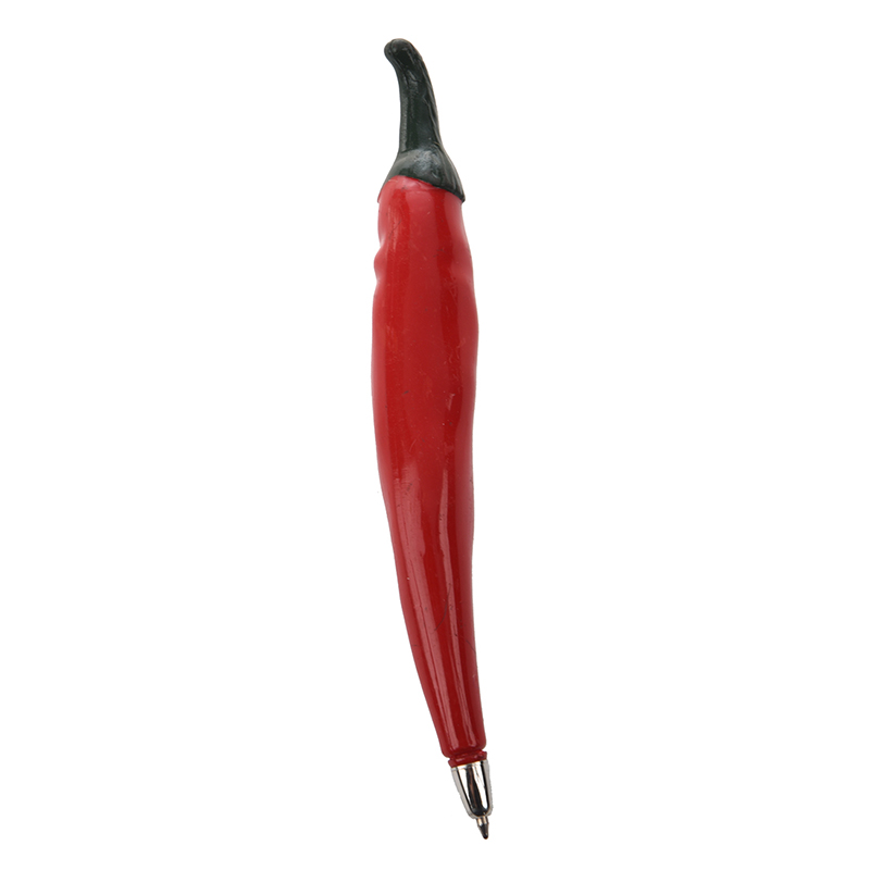 Red Plastic Chilli Pepper Shaped Black Ink Ballpoint Pen For Students