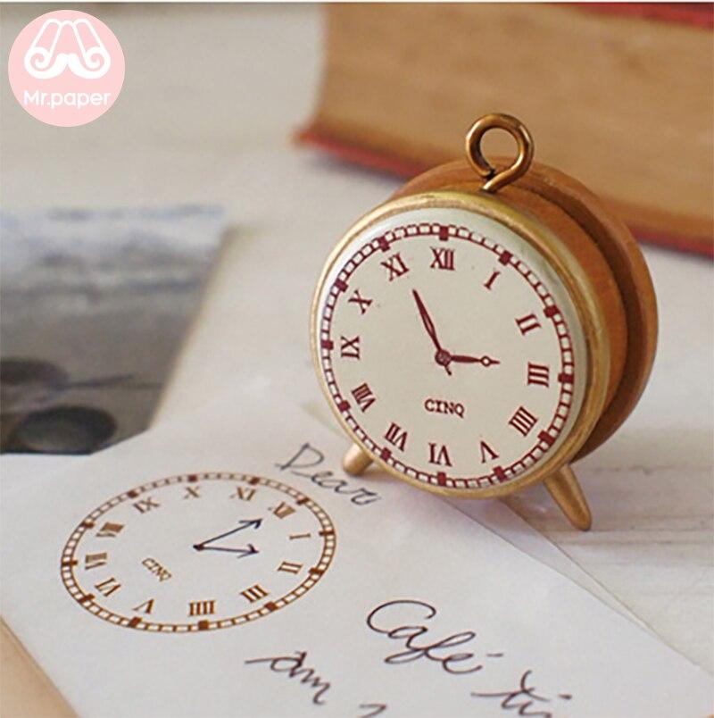 Mr paper Decole часы Tik Tok Винтаж в ретростиле, из дерева штампы для Creative креативный деко Ремесло маленькие часы деревянные марки