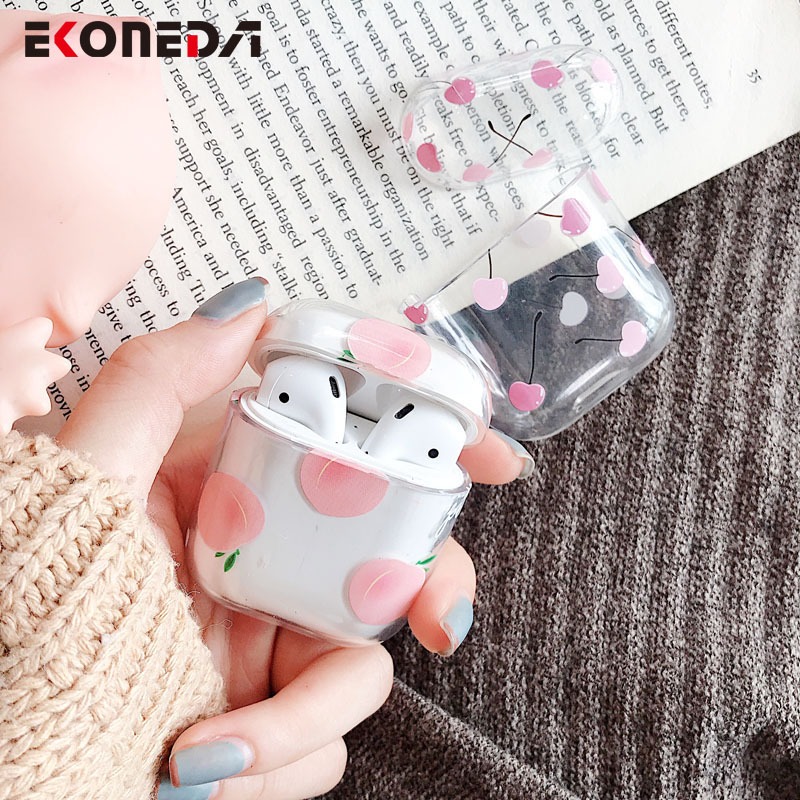 EKONEDA Cartoon Fruits Earphone Case For Apple Airpods 2 Plastic Hard Charging Case For Airpod Protective Cover