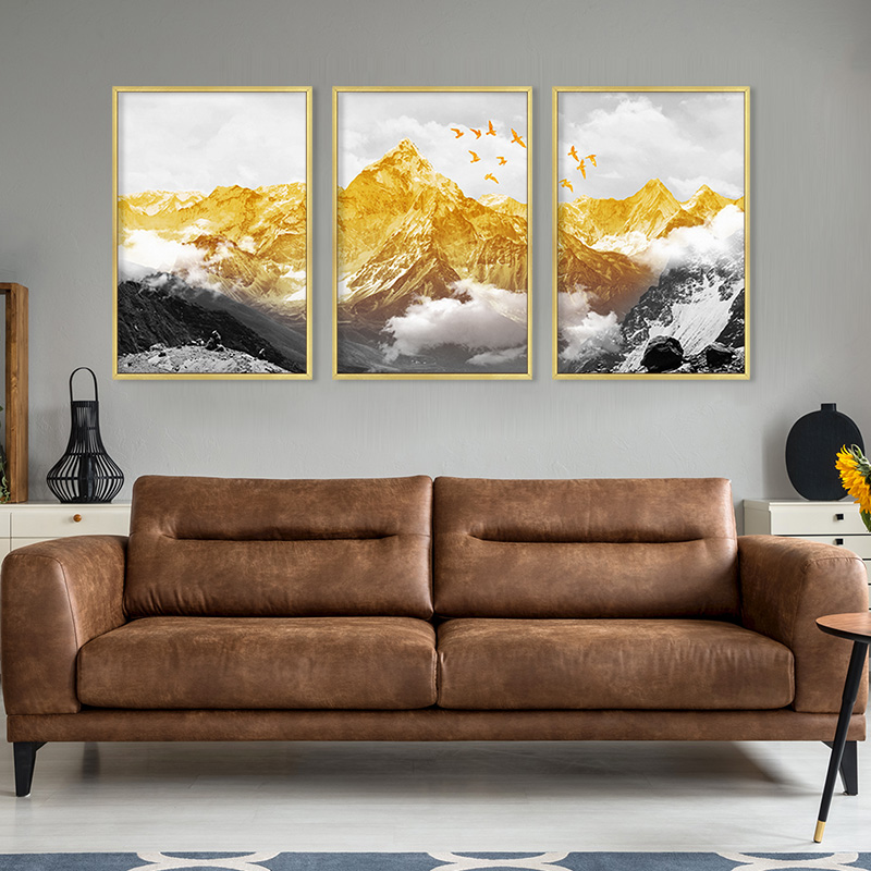 Abstract Golden Snow Mountain Landscape Map Canvas Painting Art Print Poster Picture Wall Nordic Decorative Picture Home Decor