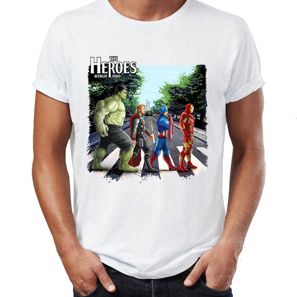 Marvel hombres camisetas vengadores Hulk Thor capitán y Stark Abbey Road obra de arte impresionante impreso Tee