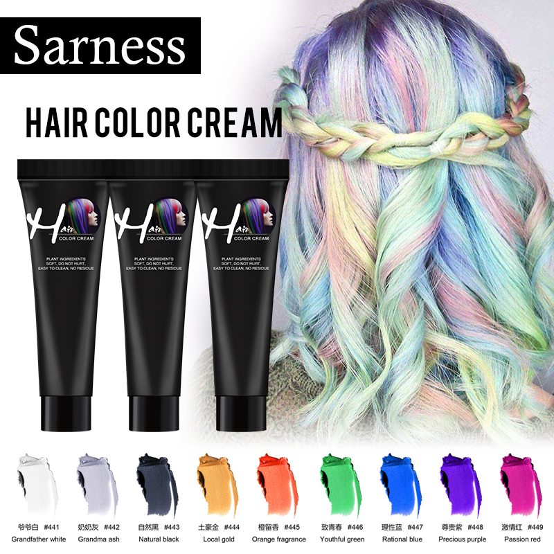 Sarness Grandma Grey Hair Color Wax Hair Dye Permanent Hair Colors Cream Unisex Strong Hold Disposable Pastel Dynamic Hairstyles