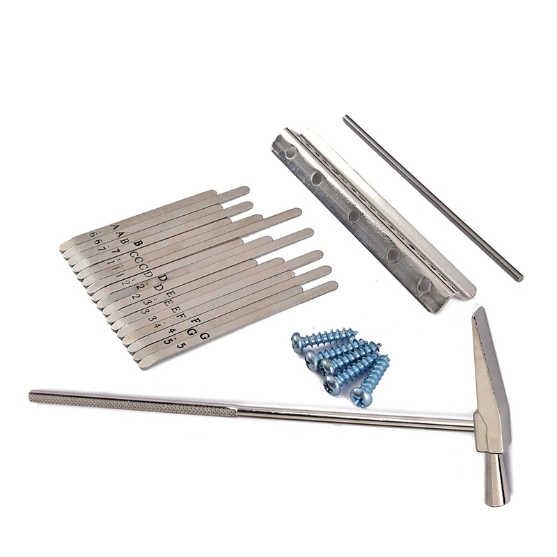 Musical Steel Keys For 17 Keys Kalimba Shrapnel With Tuner Hammer Portable Music Accessory