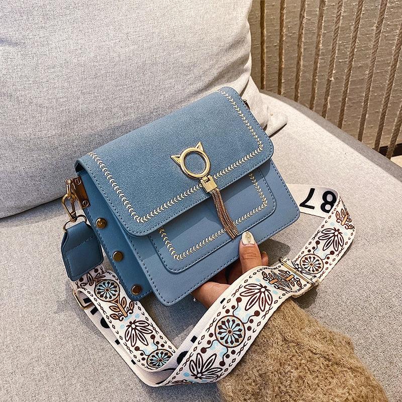 Sacos de couro do plutônio do vintage saco exclusivo franja gato bloqueio famoso designer bolsas femininas bolsas 2020 novas mulheres ombro crossbody sacoBolsas de ombro   -