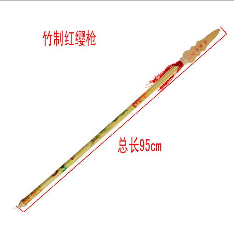 Yiwu Bamboo Nezha Red-tasselled Spear CHILDREN'S Toy Weapon Model Bamboo Crafts Performance Props