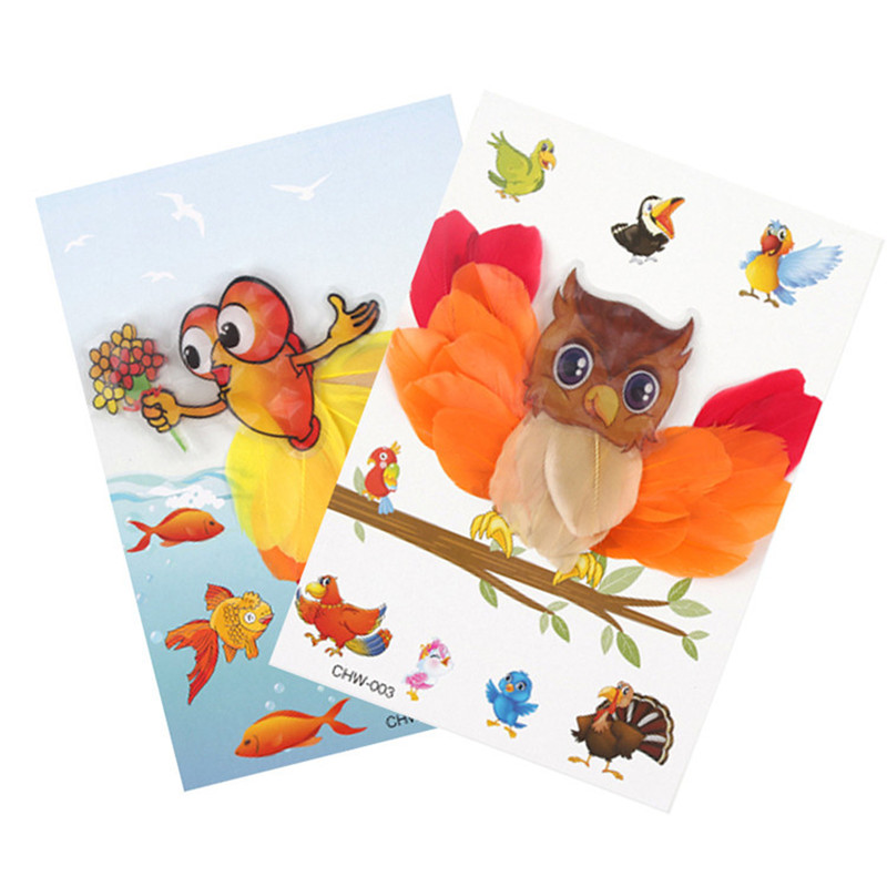 NEW Feather Sticker Painting Children DIY Manual Hand-Making Of Art 3D Sticker Toys Kindergarten Decoration Educational Toys 4PC