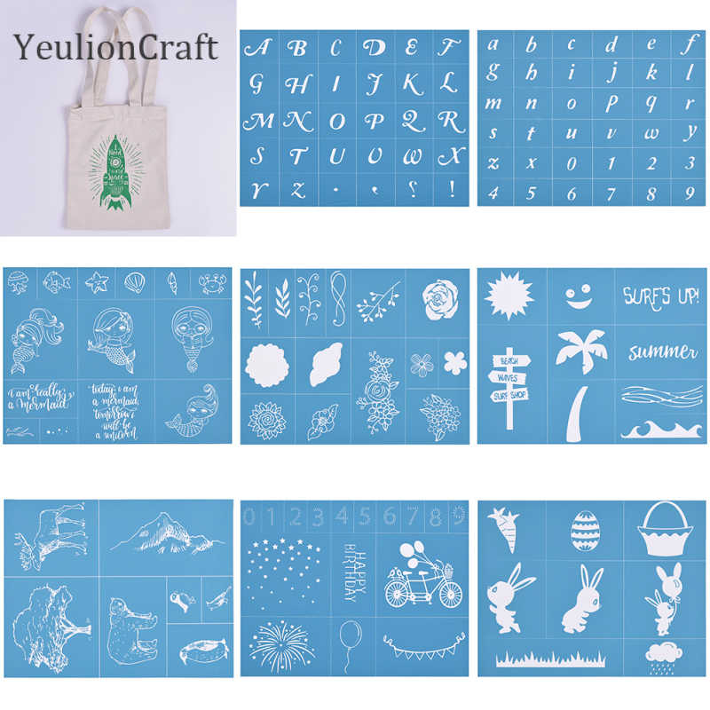 and Home Decoration Paper CHZIMADE Letters Alphabet Self-Adhesive Silk Screen Stencil Printing Mesh Transfers for Bag T-Shirts