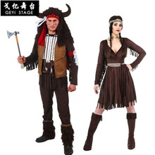 New men Halloween Primitive Native Indian chief Costume Female Warrior Cosplay Carnival Purim Masquerade Nightclub party dress(China)