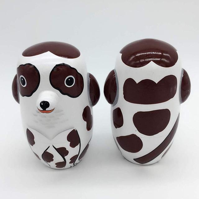 5Pcs/Set Hand Painted Dotted Dog Animal Nesting Dolls Matryoshka Puzzles Assembly Model Figurines Toys 4