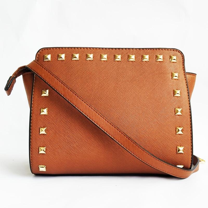 New Rivet Bag Korean Fashion Trend Shoulder Messenger Bag Cross Pattern PU Leather Small