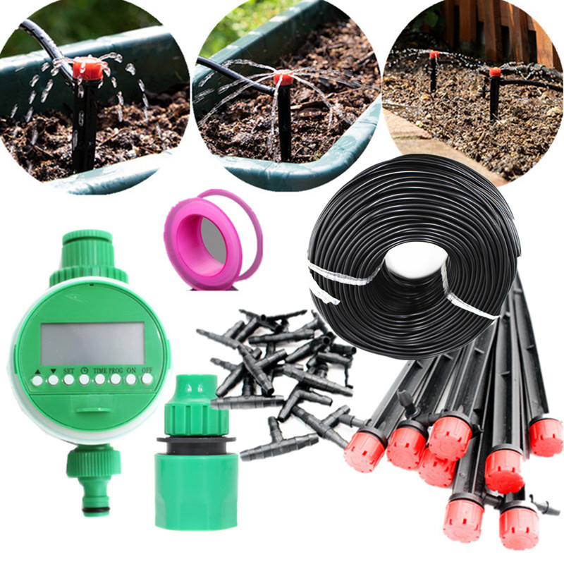 10/15/25m Hose Garden Drippers Set With Water Timer DIY Drip  Irrigation System Plant Automatic Self Garden Micro Watering  E211Watering Kits