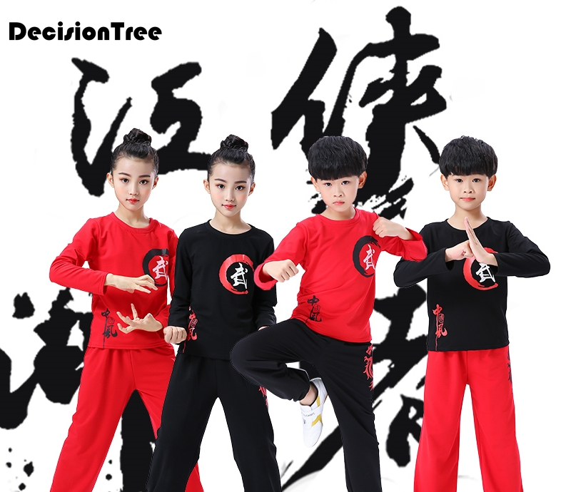 2019 Children Sanda Uniform Chinese Traditional Wushu Suit For Kids Martial Arts Sets Kick Boxing Chinoiserie Top+pants Outfit