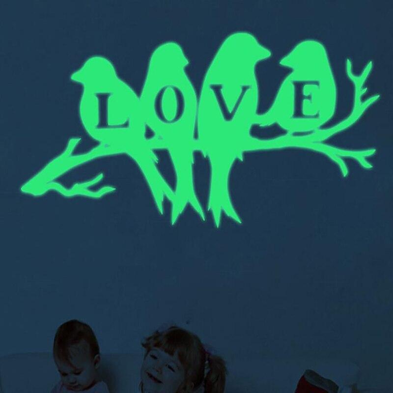 Креативная светящаяся птица на ветка дерева Наклейка на стену Наклейка для гостиной наклейки на стены для искусства Наклейка s украшение