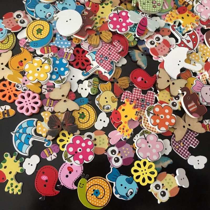 50 Packs Of Mixed Color Animals 2 Hole Wooden Buttons Sewing Handmade Diy Decorative Buttons Household Sewing Supplies