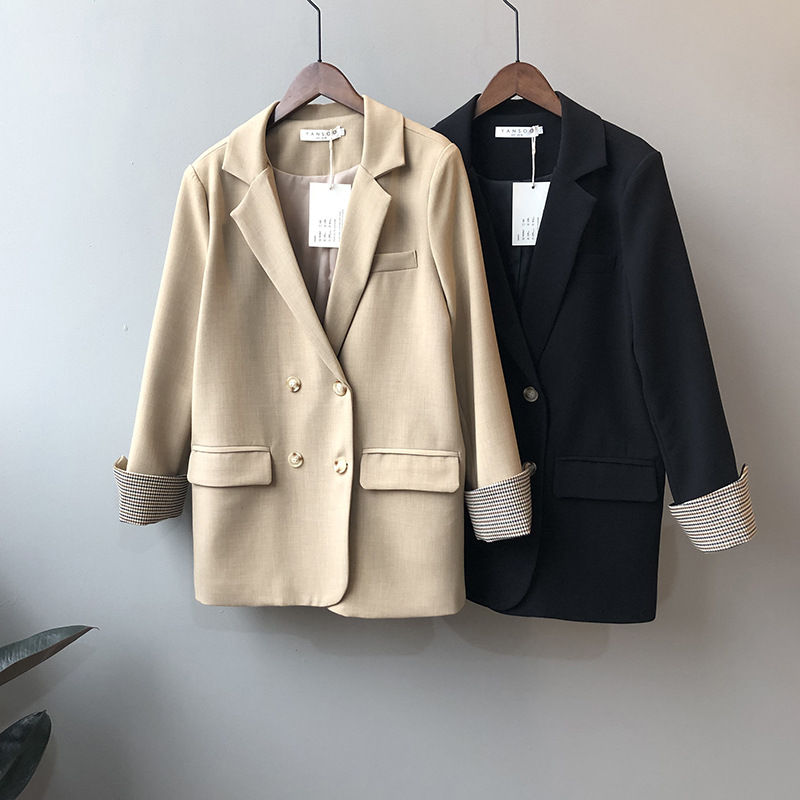 Womens Blazers Spring 2020 New Korean Version Contrast Check Sleeve Double-breasted Solid Suit Jacket Office Lady