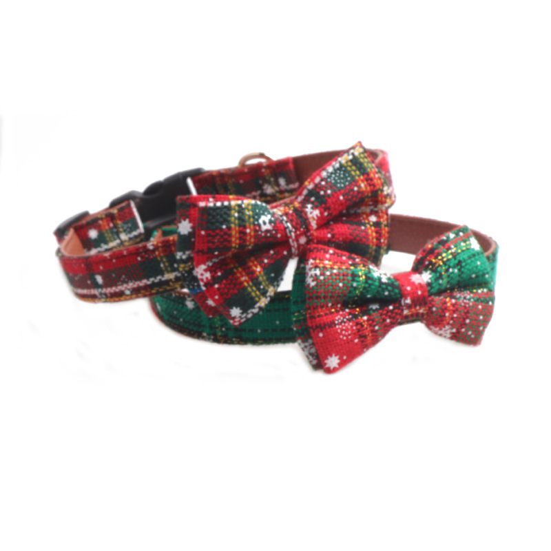 Jin Jie Te Christmas Series Pet Collar Dog Neck Ring Adjustable Snowflake Neck Ring