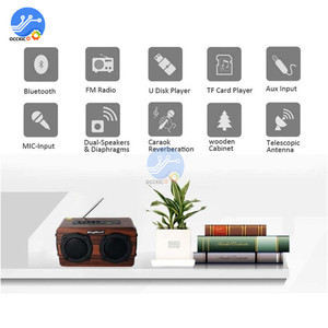 Image 3 - Portable Wooden Wireless Bluetooth Speaker Retro Stereo Subwoofer HiFi FM Radio USB TF AUX for Outdoor Home Desktop Speaker